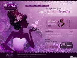 韩式紫色花纹PSD模版-医疗整形SPA网站模版
